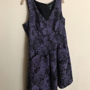 Ralph Lauren Purple & Black printed cocktail dress
